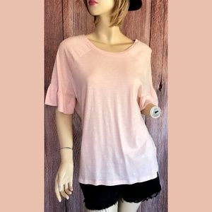 Cato Pink Top Ruffle Sleeves Small